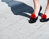 handmade shoe clips with deep red pompoms fluorescent neon, pom pom, pompon by bimabejbe