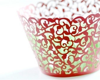 20 Filigree Laser Cut Cupcake Wrappers Wraps - 15 Colors Avaialble