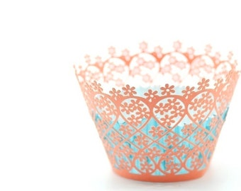 20 Garden Flower Floral Laser Cut Cupcake Wrappers Wraps - 15 Colors Available