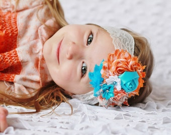 orange and turquoise Headband, baby Headband, shabby Baby headband, newborn headband, flower headband, baby girl  hairbow