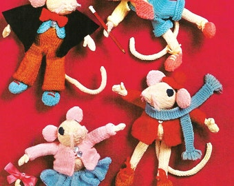 Knitted Toy Mice with knitted clothes - PDF of UK knitting pattern