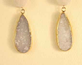 Helen Wang Earrings - 24K Gold Vermeil Bezel Set w/ White Drusy Quartz & Snow White Titanium.
