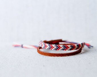 Friendship Bracelet Ivory, Grey and Coral Chevron Cord Knotted Fiber