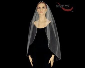 Fingertip Length Bridal Veil, Pencil Edge, Simple Veil