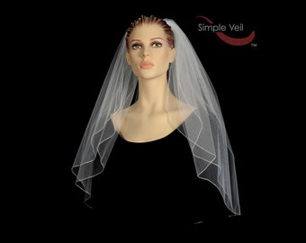 2 Layer Elbow Length Bridal Veil, Pencil Edge, Simple Veil