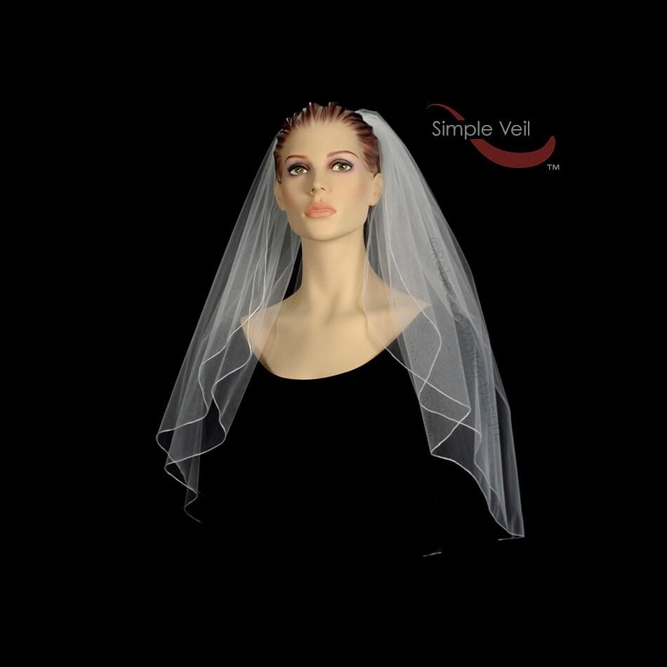 2 Layer Elbow Length Bridal Veil Pencil Edge Simple Veil