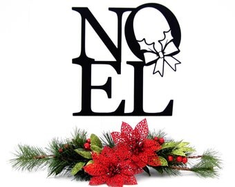 """Outdoor Christmas Decoration   Noel   Metal Sign   Christmas   Wreath   12""""w x 12.5""""h"""