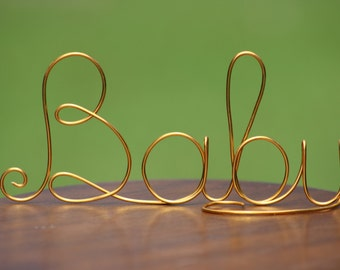 Gold Wire Baby Cake Toppers - Baby shower decorations- Bridal Shower - Rustic Country Chic Wedding