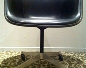 EAMES BLACK CHAIR Alexander Girard Naugahyde over Cream Parchment Fiberglass Herman Miller Armshell Vintage 1967 on Swivel Base with Casters