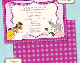 Girls Farm Animals / Petting Zoo Birthday Invitation - Printable Digital File