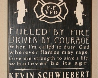 Firefighter Subway Sign - (smaller version)  Firefighter Decor, Distressed Wall Decor, Custom Wood Sign, Firefighter, Typography Word Art