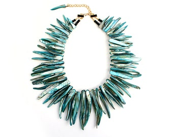 Statement Necklace Bib Necklace Strand Teal Blue Turquoise Pearl Shell Talon Tribal Beads Gift For Her