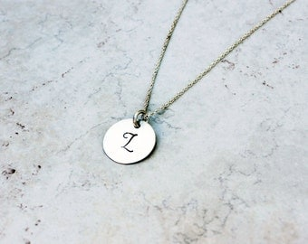Hand stamped jewelry - personalized - initial necklace - LORI custom sterling silver disk necklace