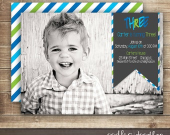 Photo Birthday  Invitation / 1st, 2nd, 3rd Birthday Invitation / Boy's Birthday Invitation,  Blue & Green Stripes,  Printable or Printed