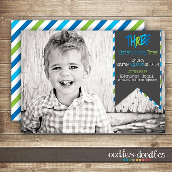 photo birthday invitation / 1st 2nd 3rd birthday invitation, Birthday invitations