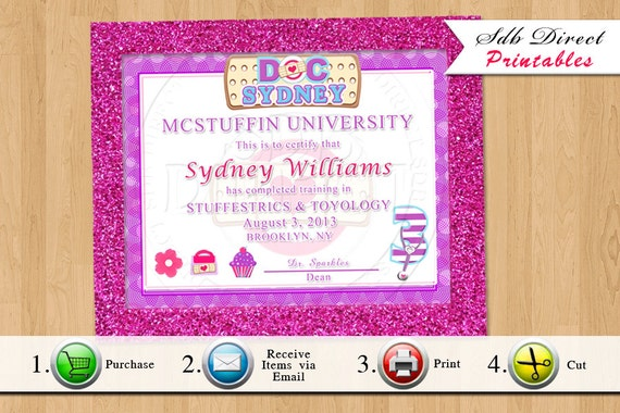 doc mcstuffins inspired diploma doc mcstuffins party signs like this item