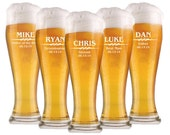 Groomsmen Gift, 8 Personalized Beer Glasses, 16oz Glasses, Custom Engraved Pilsner Glass, Wedding Party Gifts, Gifts for Groomsmen, Beer Mug