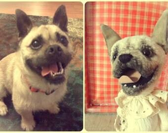 Pug +Cairn terrier . Teddy dog.Animalistic gifts.  Teddy bear. Artist bears. Stuffed animal by photo.Portrait your pet