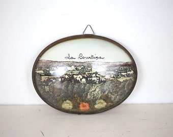 French vintage glass souvenir with scenery from the village La Courtine