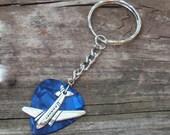Jet Airplane Key Chain, Men Women Guitar Pick Keychain, Choice 12 Custom Color Picks Keyring, Travel Airline Split Key Ring