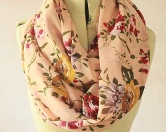 Chiffon - Large Infinity scarf, Eternity scarf, Circle scarf, Chiffon scarf, Tube scarf, Snood  - Preachy Rose