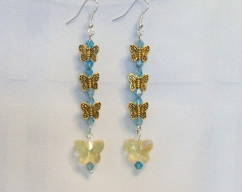 Blue and Goldtone Long Butterfly Earrings