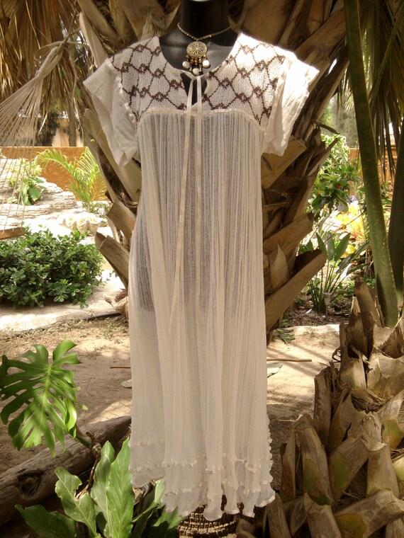 Mexican Gauze Dress - Woman's Medium/Large - Size 10/12/14
