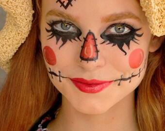 Scarecrow - Temporary Tattoos - Costume, Dress up, Fantasy Makeup