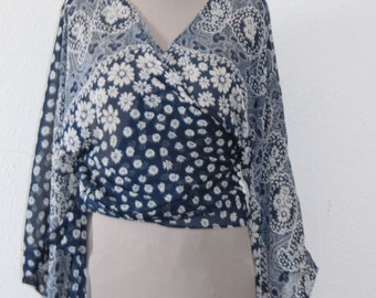 Wrap blouses.Boho.Blouse with white flowers on dark blue.  Wrap blouses with white flowers on dark blue