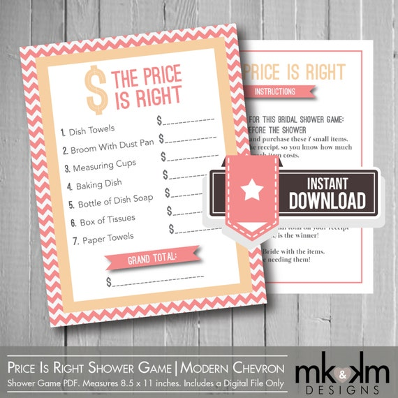 The Price Is Right Bridal Shower Game: Modern By MKKMDesigns