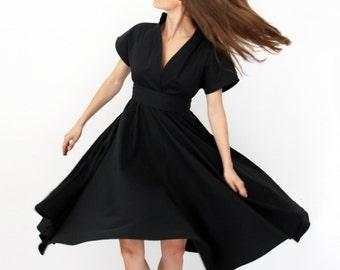 Gothic Lolita Dress, Black Dress, Womens Dress, Bridesmaid Dress, Knee Length Dress, V-Neck Dress, Flared Dress, Circle Dress, Spring Dress