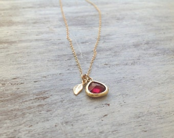 Gold necklace, Ruby necklace,red and gold, summer, gold filled, ruby  glass pendant and tiny gold leaf - 7008