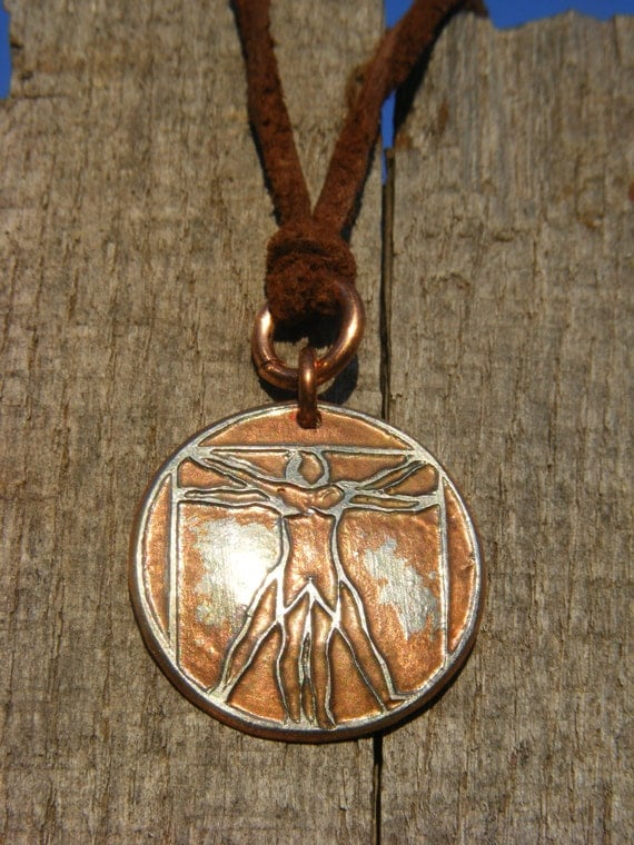 Vitruvian Man Necklace. Etched Coin Pendant made from a Quarter.