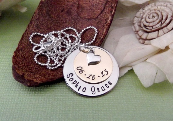 Mixed Metal- Personalized Mommy Jewelry- Hand Stamped Mother Necklace-  New Mommy Necklace- New Mommy Jewelry- Personalized Mom Necklace
