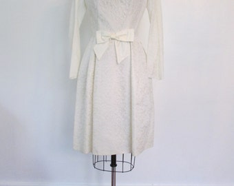 1960s white lace wedding dress | 60s lace with bow wedding dress | extra small | The Lauren Wedding Dress