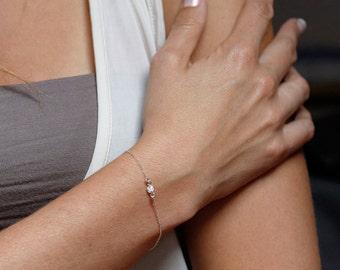 Solitaire Bracelet, Zirconia Diamond Bracelet, Silver Bezel Crystal Bracelet, Sterling Silver CZ Diamond Bracelet
