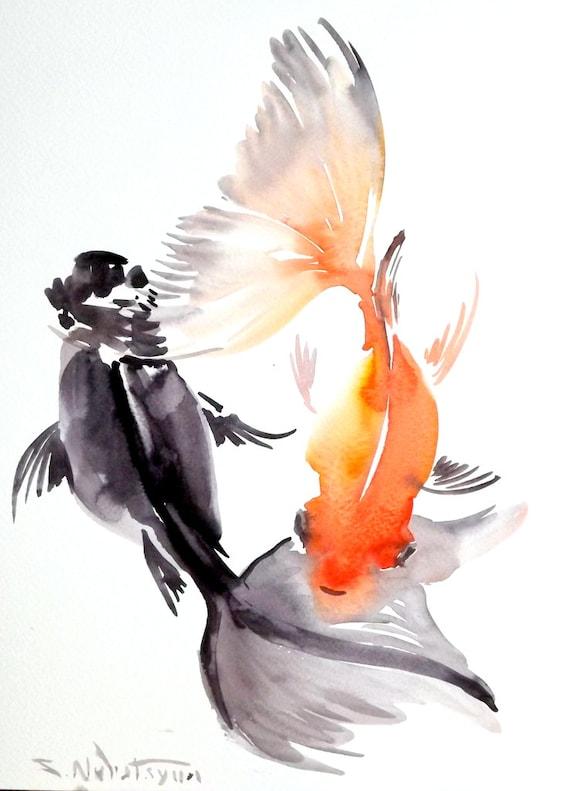 Goldfish original watercolor painting 12 x 9 in fish for Paintings of fish
