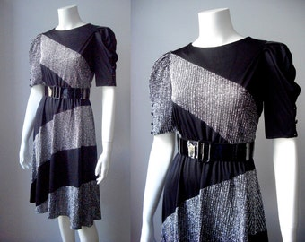 1970s metallic dress / 70s party dress / last days of disco dress