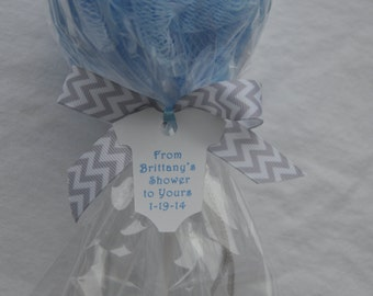 Blue and Gray Chevron Baby Shower Favor Bath Puff Lollipop with Tag