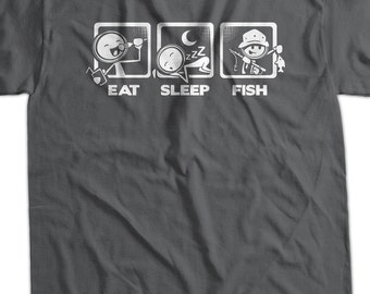 Fishing T-Shirt Fish T-Shirt Eat Sleep Fish T-Shirt V4 Gifts for Dad Gifts for Guys Screen Printed T-Shirt   Shirt T Shirt Mens Ladies Women