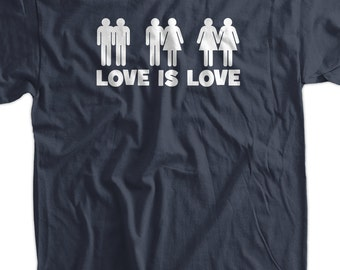 Love Is Love Screen Printed T-Shirt Tee Shirt T Shirt Mens Ladies Womens Youth Kids Gay Lesbian Straight LGBTQ