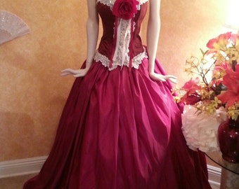 Sample Gown Listing / Ruby Middle Eastern Indian Goddess Vintage Victorian Inspired Taffeta Bridal Wedding Ballgown (All Sizes)