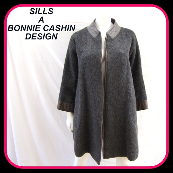 Bonnie Cashin for SILS, coat, swing, jacket, stroller, gray, mohair wool / leather trim, vintage 1960s, MOD, mad men, boho, sz LG