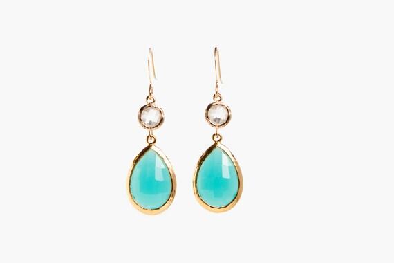 Framed Turquoise Dangle Earrings