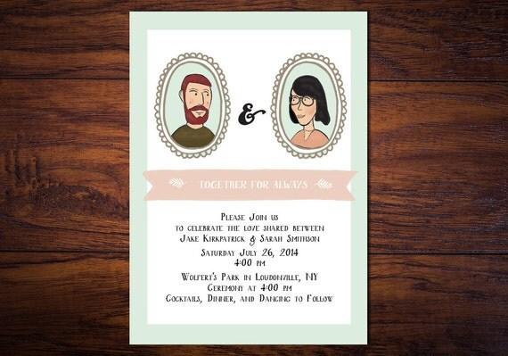 Illustrated Wedding Invitations: Custom Illustrated Wedding Invitation // By WrittenInDetail