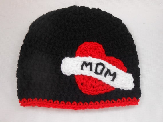 Crochet Valentine Hat : Crochet Tattoo Boy Valentine Hat, Heart, I love Mom Tattoo Hat ...