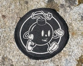 Black Bomb Street Art Graffiti Patch Home Made Hand Made DIY Silk Screen Print Sewn Sew Mascot