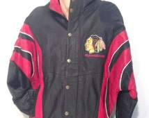 All leather, early 90's Blackhawks starter jacket. Deadstock with tags. Size XXL.