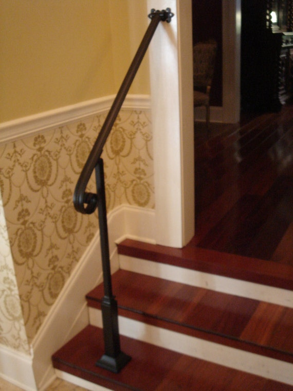 3 Ft Wrought Iron Handrail Stair Step Railing with Wall/Post Mount Bracket & Decorative Post