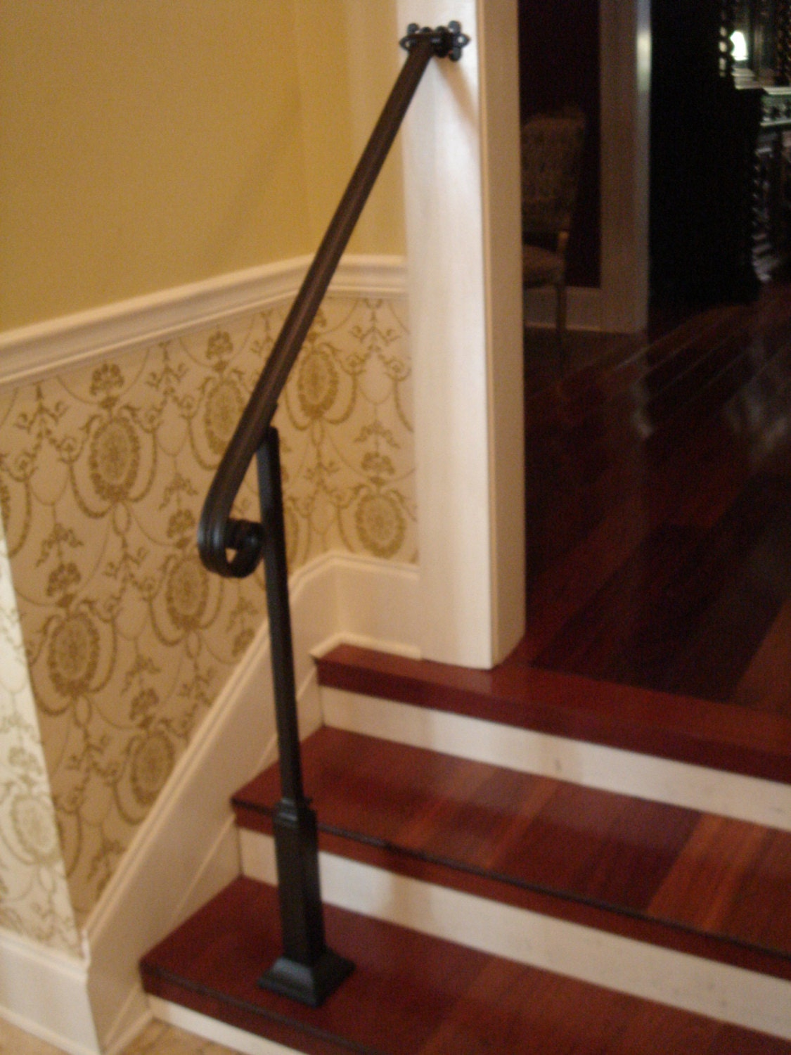 3 Ft Wrought Iron Handrail Stair Step Railing With Wall Post